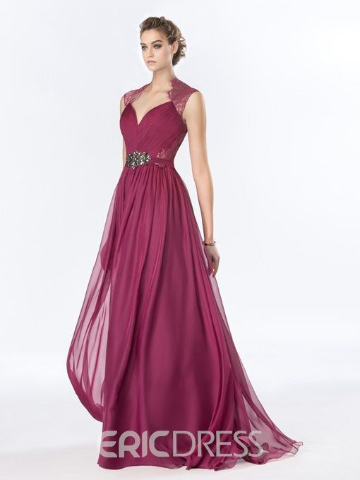 A-Line Floor-Length Crystal Lace Evening Dress