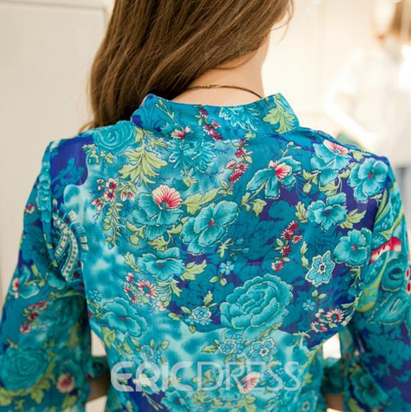 Ericdress Floral Printed Plus Size Blouse