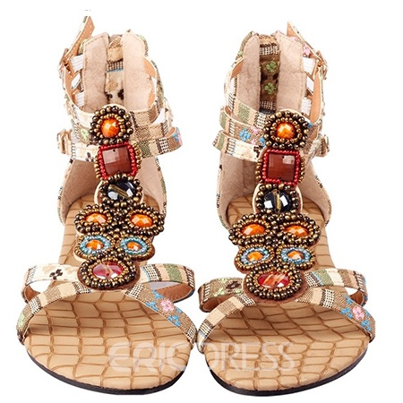 Bohemian Ethnic Beads Flat Sandals