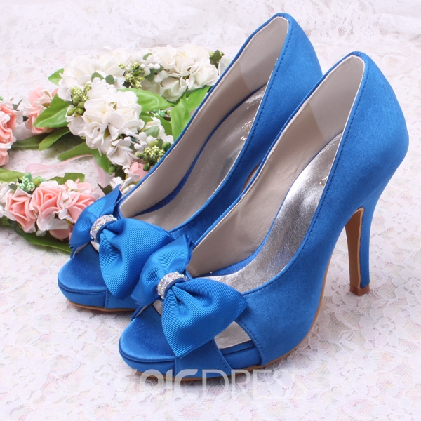 Ericdress Beautiful Satin Bowknot High Heel Wedding Shoes