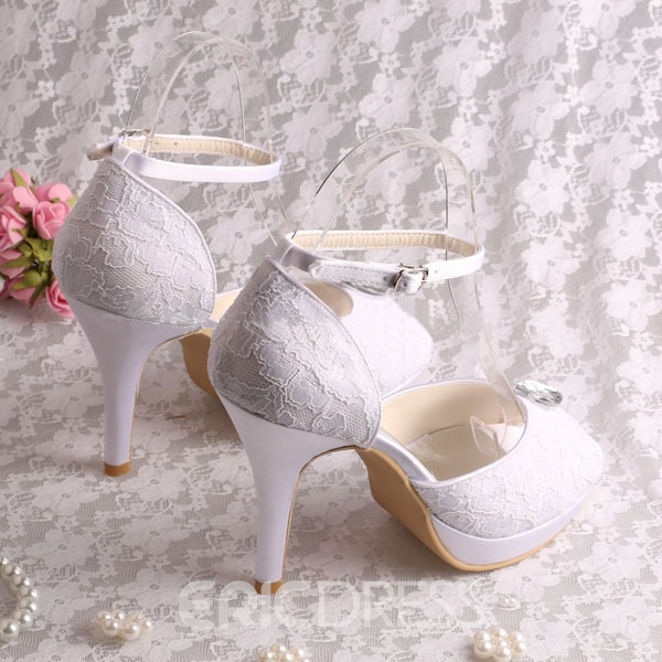 Ericdress Pretty Rhinestone Lace High Heel Wedding Shoes