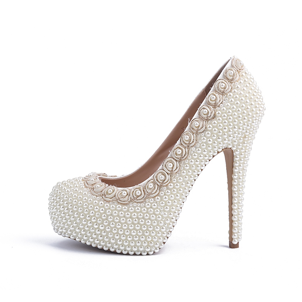 Little Flower&pearl Decoration Prom Shoes