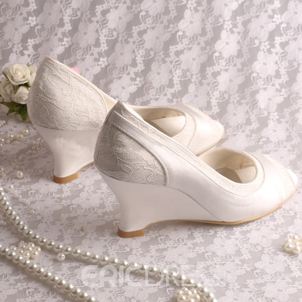 Ericdress Comfortable Wedge Heel Lace Wedding Shoes
