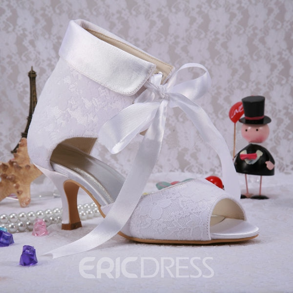 Ericdress Fashionable Peep-toe Lace Kitten Heel Wedding Shoes