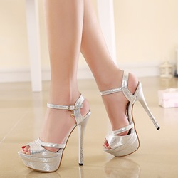 Elegant Peep-toe Ankle Strap Stiletto Sandals фото
