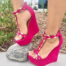 Bright Suede T-Strap Wedge Sandals