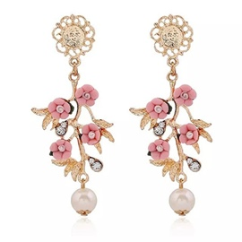 Ericdress Vintage Pearl Diamante Flower Earrings
