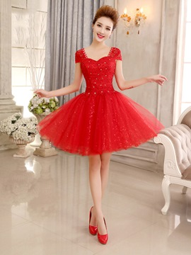 Ericdress a-ligne de Cap manches paillettes court Homecoming robe