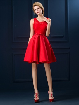 Ericdress Lace Bowknot Sleeveless A-Line Short Cocktail Dress