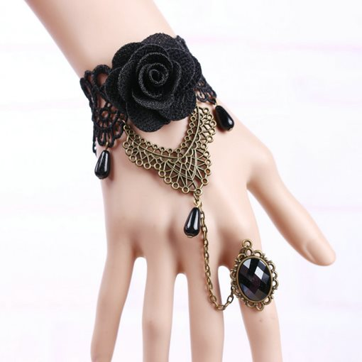 Ericdress Vintage Black Rose Lace Ring Bracelet