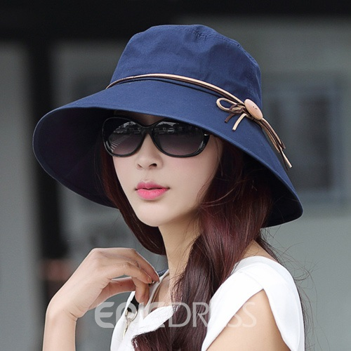 Ericdress Casual Wooden Button Embellished Ultraviolet-Proof Sunhat
