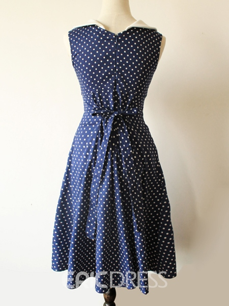 Ericdress Crew Neck Polka Dots Vintage Casual Dress