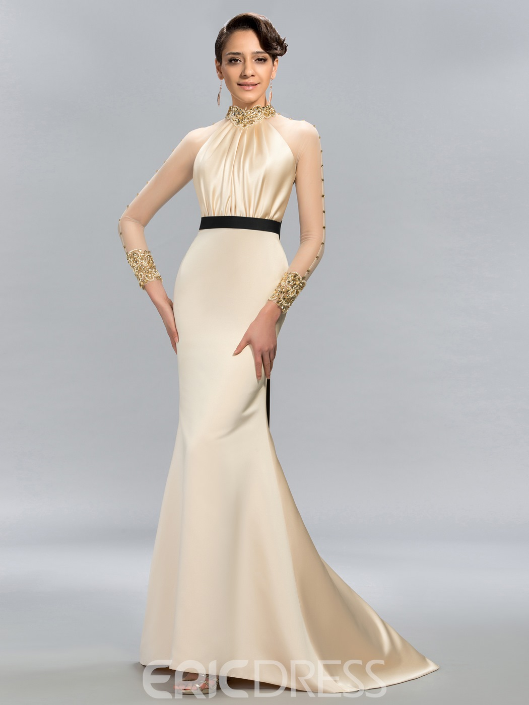 High-Neck Beading Mermaid Evening Dress