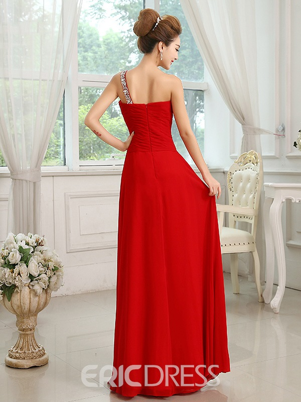 Ericdress One-Shoulder Sequins Beaded A-Line Long Prom Dress