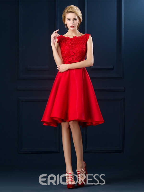 Ericdress Knee-Length Round Neck Bowknot Cocktail Dress