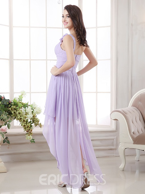 Ericdress Dramatic Ruches Asymmetrical Length One-Shoulder Homecoming Dress