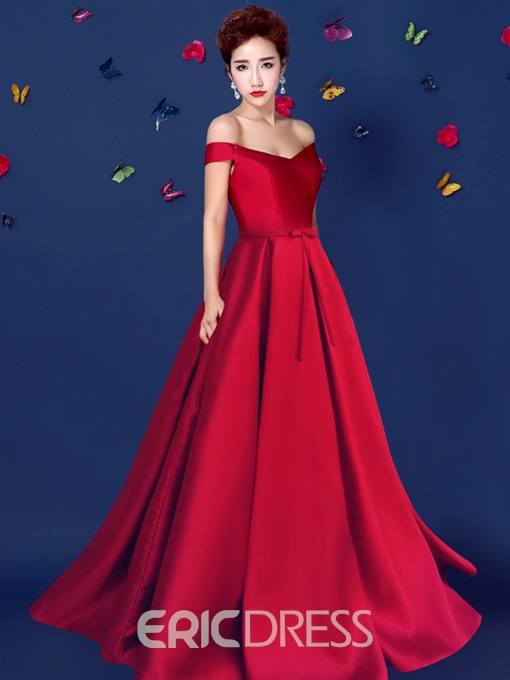 Ericdress Off-The-Shoulder A-Line Long Evening Dress