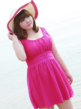 Ericdress Plain Pleated Plus Size Swimwear