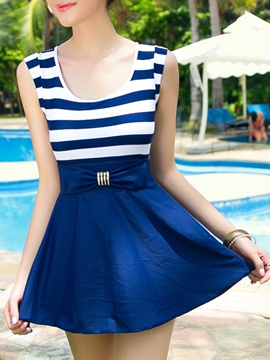 Ericdress Stripe Women Bow Beach Dress