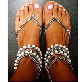 Fashion perles décoration Clip-toe Flat Sandals
