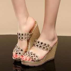 Summer Fashion Rhinestone Wedge Sandals
