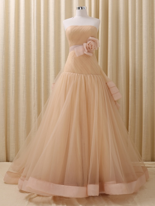 Ericdress Strapless Ball Gown Flowers Bowknot Court Train Quinceanera Dress