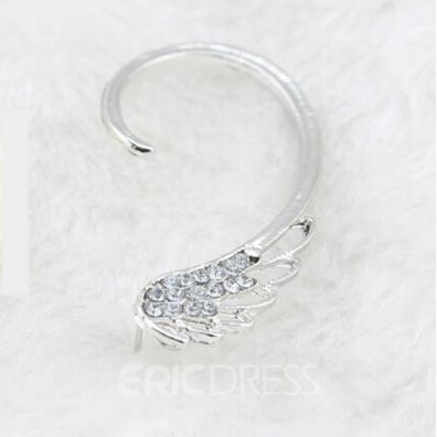 Wing Shaped Rhinestone Ear Cuff