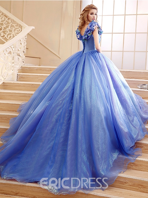 Ericdress Appliques Pick-Up Chapel Train Quinceanera Dress