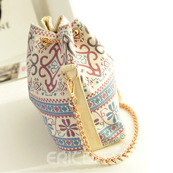 Ericdress Vintage Bucket Shape Drawstring Chain Shoulder Bag