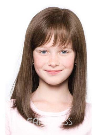 Straight Human Hair With Bangs Capless Wig For Kids