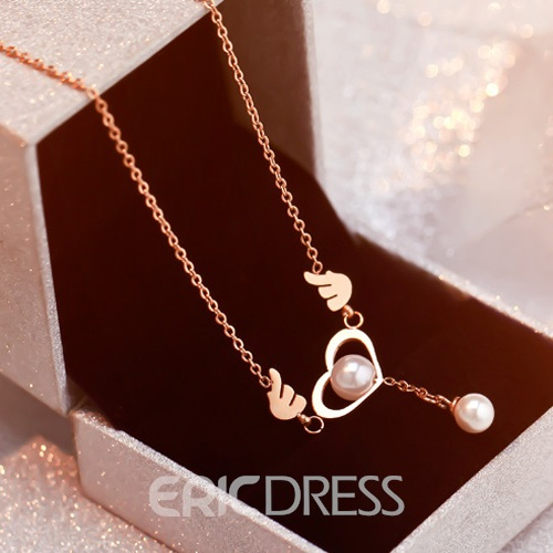 Ericdress Exquisite Heart-Shaped Pearl Pendant Anklet