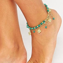 Bohemia Style Turquoise Decorated Anklet