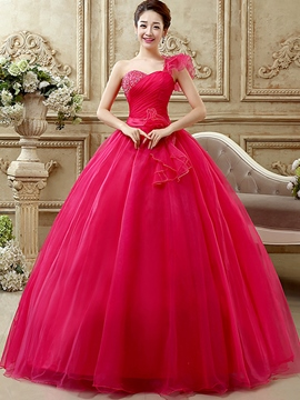 Ericdress One-Shoulder-Ballkleid Falten Pailletten lange Quinceanera Kleid