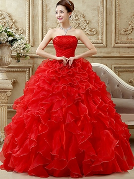 Ericdress Strapless Cascading Ruffles Ball Gown Quinceanera Dress