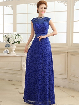 Ericdress High Neck Beaded Appliques Lace Ribbon Evening Dress