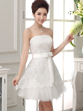 Ericdress bustier a-ligne de dentelle Bowknot Homecoming robe