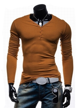 Ericdress Plain V-Neck Men's Long Sleeve T-Shirt