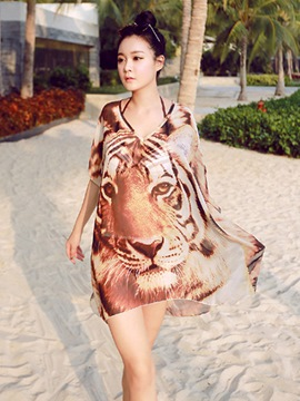 Ericdress Animal Print V-Neck Chiffon Short Sleeve Cover-Up