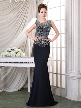 Ericdress Scoop Sequins Beaded Court Train Long Evening Dress