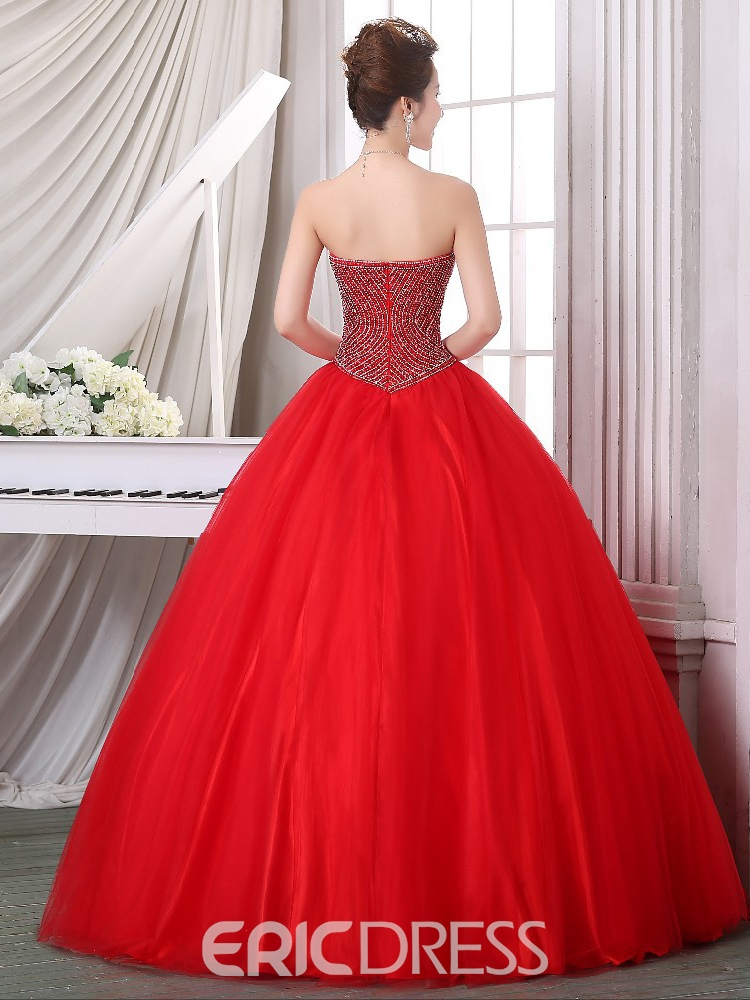 Ericdress Sweetheart Beaded Zipper-Up Quinceanera Dress