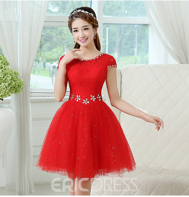 Ericdrsess Scoop Beading Cap Sleeve Lace-up Homecoming Dress