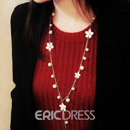 Ericdress Flower Pearl Sweater Chain Necklace