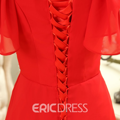 Ericdress Short Sleeves A-Line V-Neck Beaded Lace-Up Evening Dress