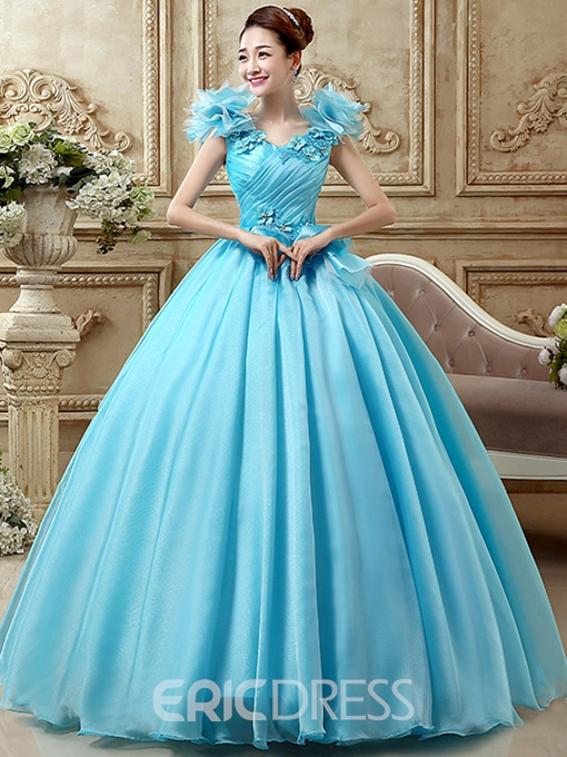 Ericdress Appliques Sequins Pleats Lace-Up Quinceanera Dress