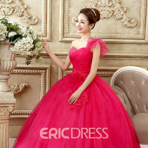 Ericdress One-Shoulder Ball Quinceanera Dress