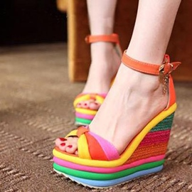 Stunning Rainbow Ankle Strap Wedge Sandals