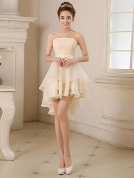 Ericdress A-Line Strapless Asymmetric Homecoming Dress