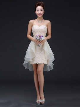 Ericdress Beautiful Sweetheart Lace Asymmetry Bridesmaid Dress
