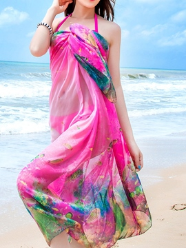 Ericdress Chiffon Print Long Cover-Up