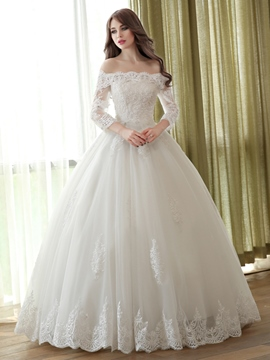 Ericdress Elegant Off the Shoulder Ball Gown Wedding Dress